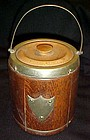 Antique oak with brass ice bucket with porcelain liner