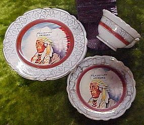 Old mini souvenir Indian Chief  cup saucer n plate set