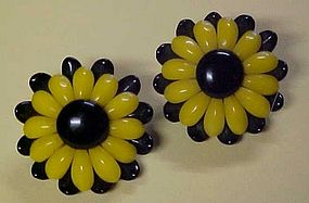 Vintage Germany black and yellow flower clip earrings