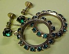 Vintage emerald green rhinestone hoop earings screw bac