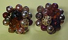 Vintage beaded brown n gold cluster earrings clip ons