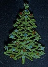 Vintage ART Christmas tree pin with rhinestones