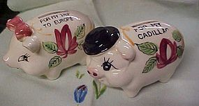 Vintage Mr and Mrs h/p Ceramic Piggy bank duo Japan