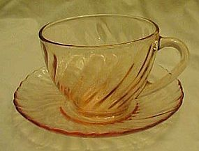 Arcoroc France pink swirl Rosaline cup and saucer set