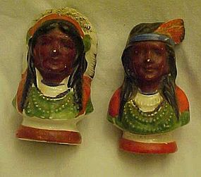 Vintage Indian Chief and woman hand painted shakers