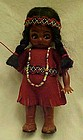 Vintage Carlson Indian girl doll  beads googly eyes