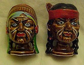 Vintage Indian warrior salt pepper shakers war paint
