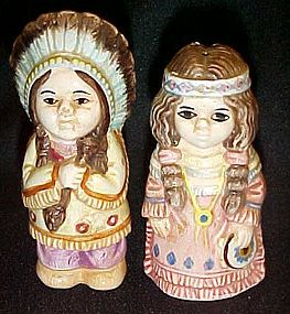 Adorable Indian Chief  and wife salt and pepper shakers