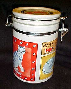 Feed Me Cat  stoneware treat jar with air tight lid