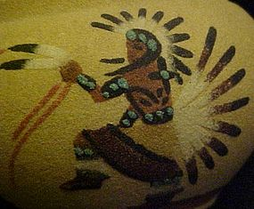 American Indian sand painted eagle Dancer bowl  JY