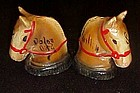 Old Chalk  horse heads salt n  pepper shakers Boot Hill