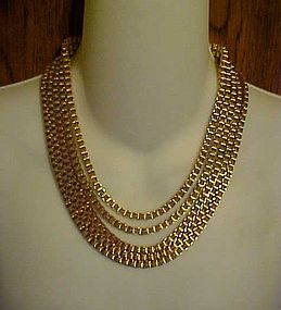 Great Monet designer chunky link 5 strand bib necklace