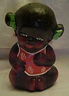 Vintage little black girl child bank  red clay pottery
