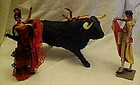 Vintage Chiclana Bullfigher, Bull and Flamenco lady set