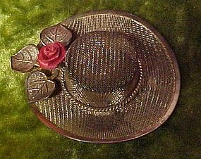 Vintage Mesh ladies hat with red rose pin