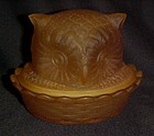 L. G. Wright  Gold satin glass covered owl dish