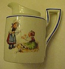 German porcelain child pitcher Victorian children scene