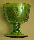 Indiana Lime green Carnival Harvest glass sugar bowl