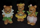 Homco/Home Interior 3pc Flower Bears 8768 Complete Set