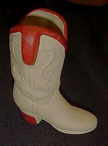 Ceramic Cowboy western boot figurine