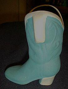 Ceramic hand painted western cowboy boot figurine