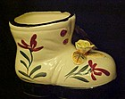 Vintage hand painted boot shoe with applied flower