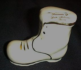Vintage ceramic souvenir shoe bank from San Antonio TX