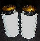 Vintage Fenton milk glass hobnail salt pepper shakers