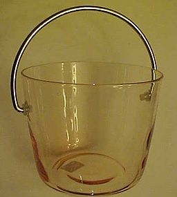 Pretty vintage pink glass ice bucket  stainless bail