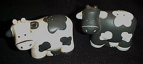 Black and white plastic Holstein cow  s&p shakers