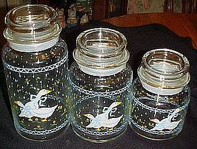 Anchor Hocking farm country geese glass  cannister 7""