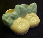 Vintage glazed pottery baby  booties nursery planter