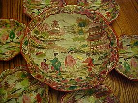 Old Geisha ware rice  or salad set  embossed & moriage