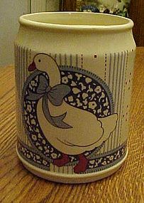 B&D Japan Ribbon Geese blue calico utensil holder