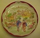 Vintage Geisha ware 2 Geishas bridge village red edge