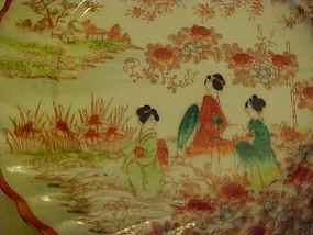 Old Geisha ware plate red orange swirled edge 3 girls