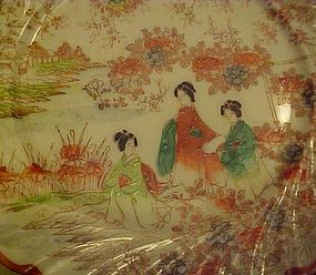 Vintage Geisha ware 3 girls  flowers trellis swirl edge