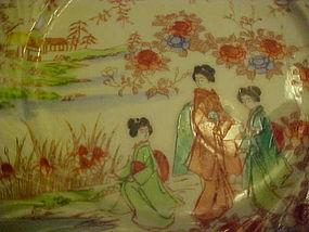 Vintage Geisha ware re orange swirl edge 3 girls
