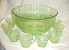 Tiara Chantilly green sandwich punch bowl and 12 cups