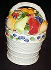 Ceramic basket of fruit cookie jar