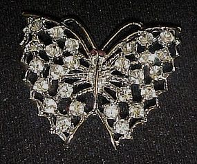 Pretty vintage  crystal rhinstone butterfly pin