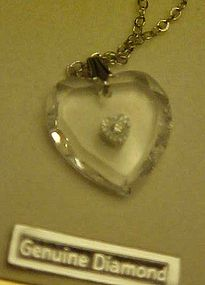 Vanessa Crystal heart Necklace with tiny diamond center