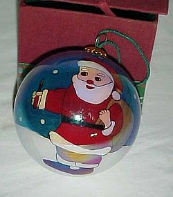 "Reversed painted Santa with toy sack 3"" ornament"