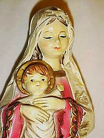 Vintage 60's plaster cast Mary and Jesus