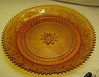 Tiara amber sandwich glass torte serving plate Indiana
