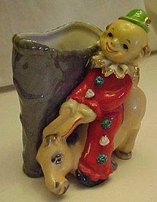Vintage clown and donkey mule planter spaghetti trim