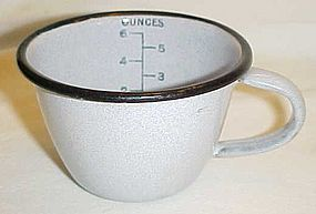 USN grey granite ware cup with measurements. NICE