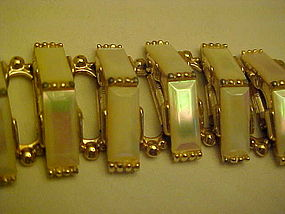 Vintage  gold tone Mother of  pearl bracelet
