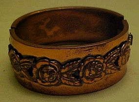 Vintage copper hinged cuff bracelet with roses