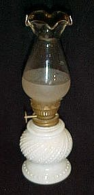 "Vintage milk glass oil lamp and ruffled chimney 8"" tall"